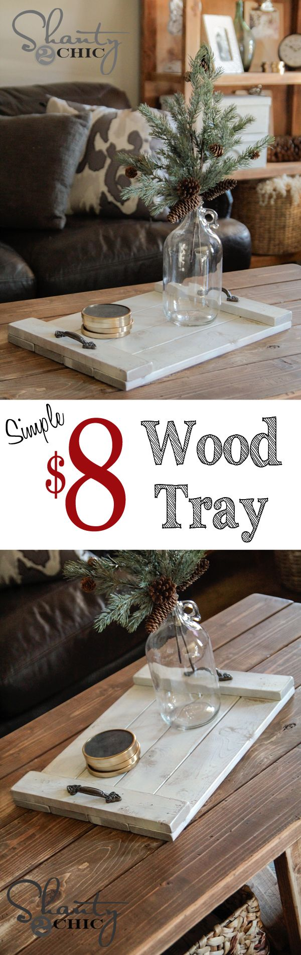 Super cute and cheap DIY wood coffee table tray... Great gift idea!!