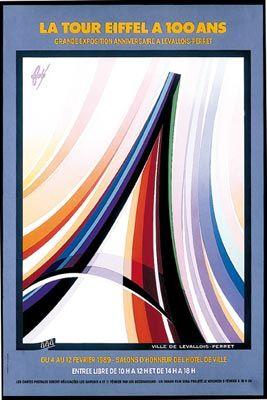 La Tour Eiffel a 100 ans Année: 1989 Dimensions: 59,8 cm x 39,8 cm Référence:AF 5818 Affiche lithographiée http://fore-affichiste.com/