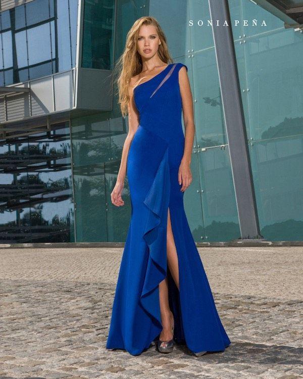 Vestido largo azul sonia pena