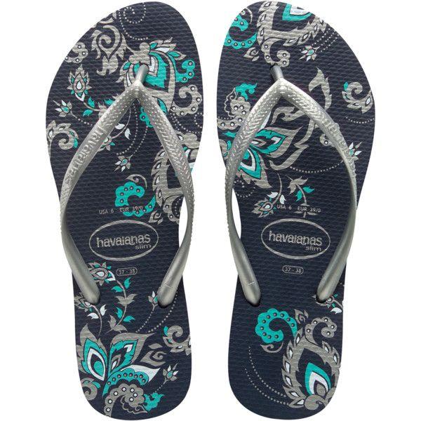 Havaianas Slim Season (88 BRL) ❤ liked on Polyvore featuring shoes, sandals, flip flops, navy blue, women, flower print shoes, rubber sandals, floral print shoes, rubber flip flops and navy strappy sandals