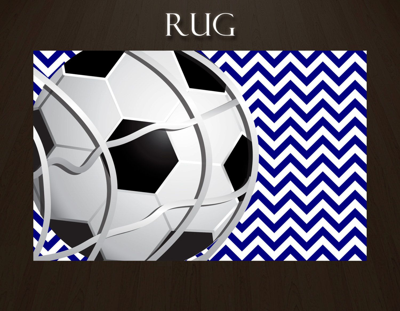 Blue chevron soccer rugs soccer ball rug sports theme