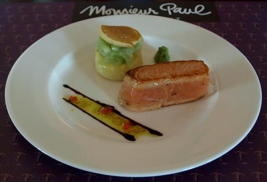 Monsieur Paul - Saumon mi-cuit marine -- Lightly cooked marinated salmon, with blinis and cucumber salad.