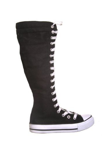 b2e0fccbb41 NEW Canvas Sneakers Flat Tall Punk Skate Shoes Lace up Knee High Boots FOR  KIDS (1