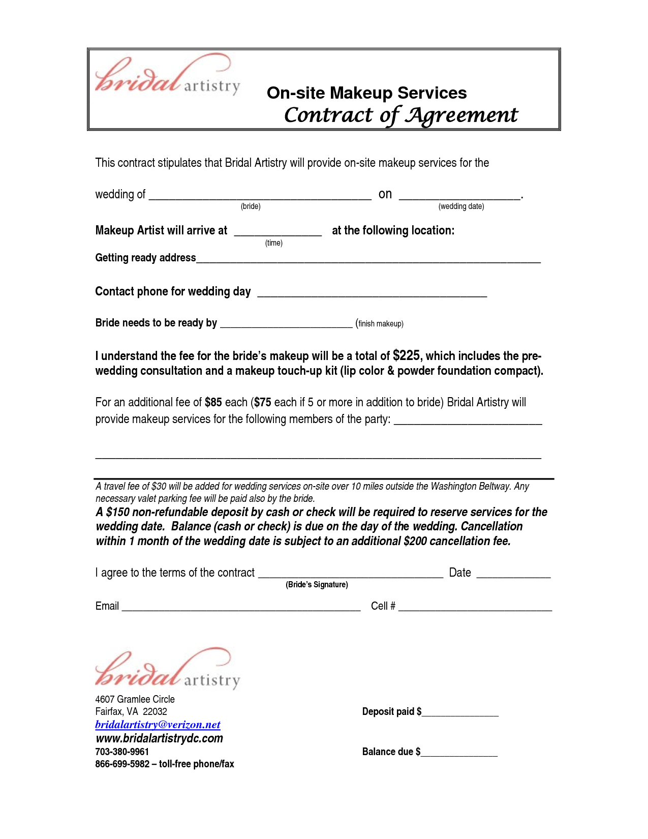 bridalhaircotract site makeup services contract agreement this stipulates