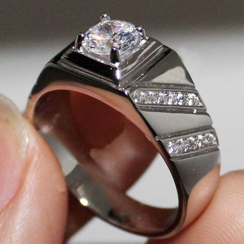 Men S 10k White Gold Over D Vvs1 Diamond Pinky Engagement Wedding Band Ring New Giftjewelry22 Men Diamond Ring Mens Diamond Wedding Bands Wedding Ring Bands