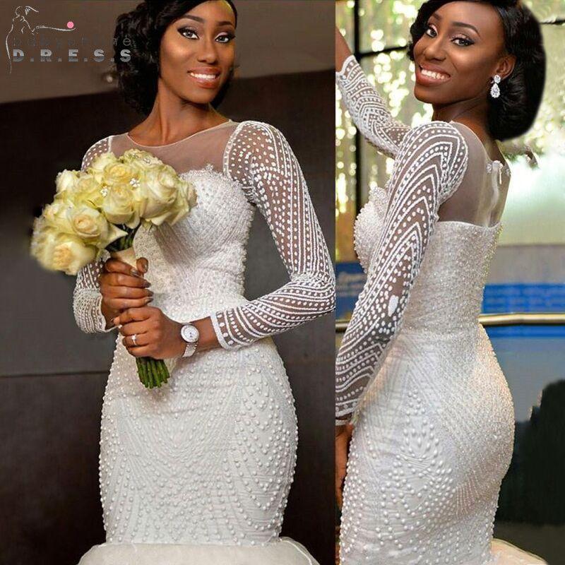 Günstige Sexy Afrikanische Weiß Schatz nixe Hochzeitskleider 2017 ...