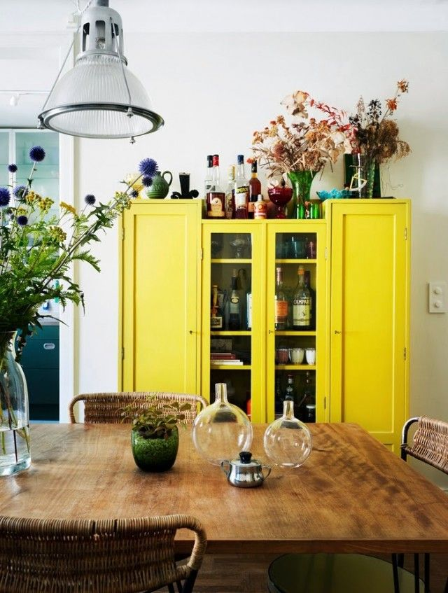 Furniture Ideas Yellow Drinks Cabinet In The Dining Room