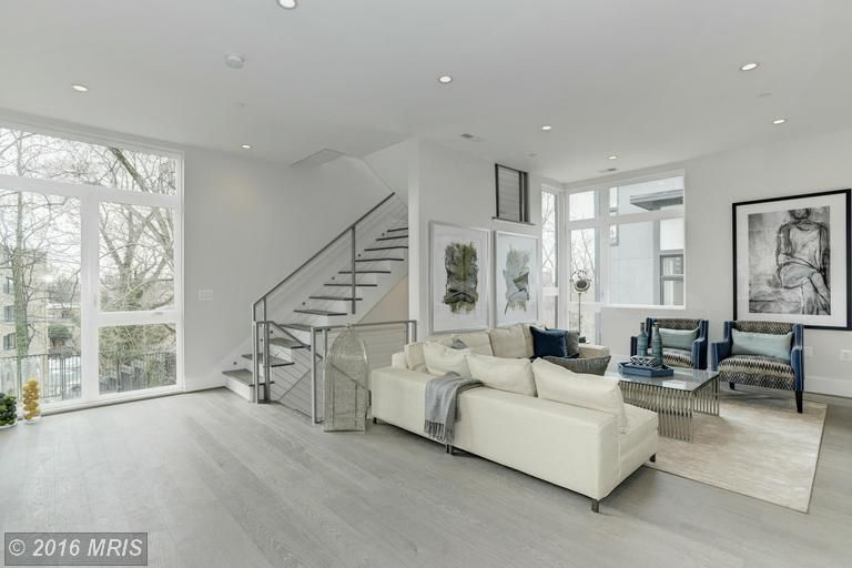 Contemporary Living Room With Carpet Hardwood Floors High