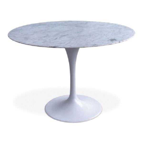 Eettafel Wit Design.Eettafel Tulip Table 100cm Top Marmer Wit Tafelpoot Wit