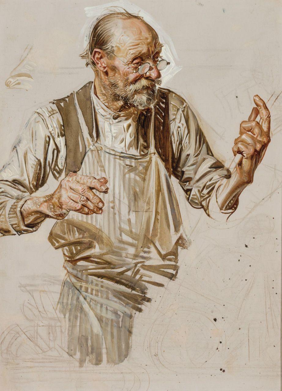 SHEAR [in-spuh-rey-shuhn], J.C. LEYENDECKER   The Toymaker - Study Oil on...