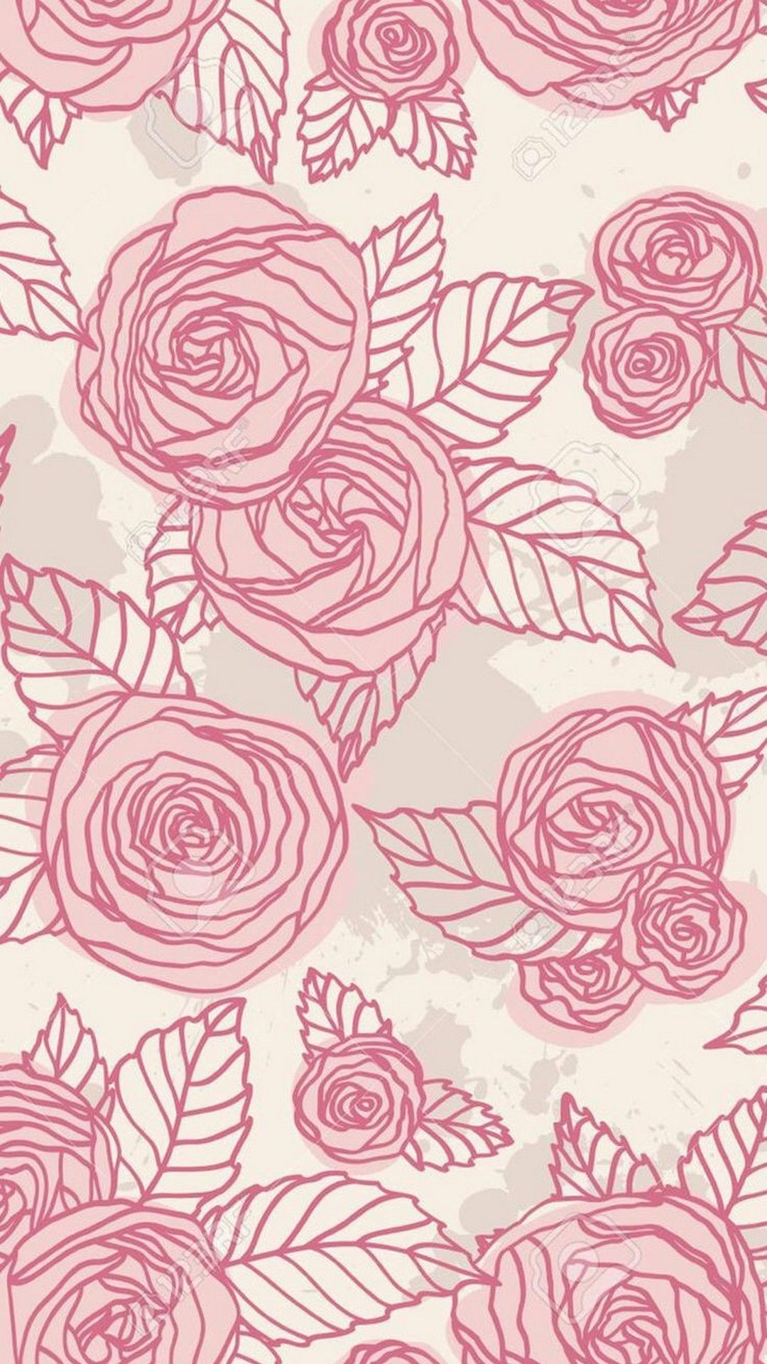 Pattern Pink Rose Drawing Design Leaf Iphone Wallpaper