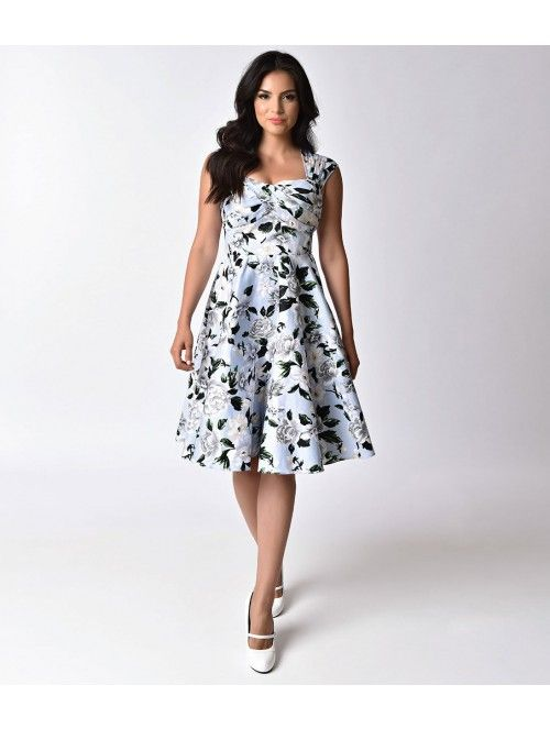 ed483a635409e 1950s Pin-Up Style Light Blue Floral Sweetheart Swing Dress | stil ...