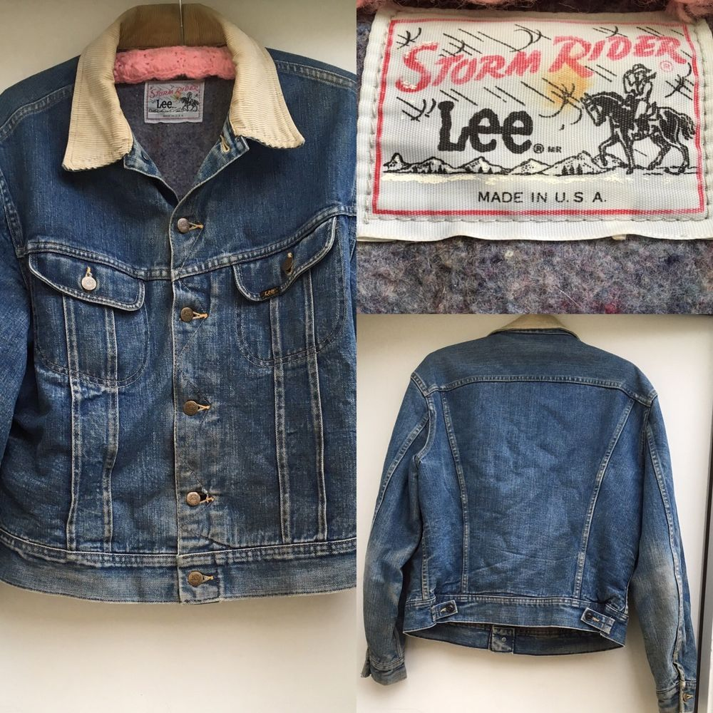 Vintage 1970s Lee Storm Rider Blanket Lined Denim Jacket Made in USA