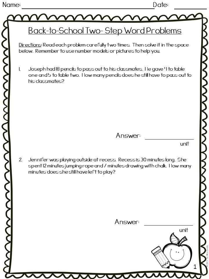 Two Step Word Problems School Themed Teaching Word