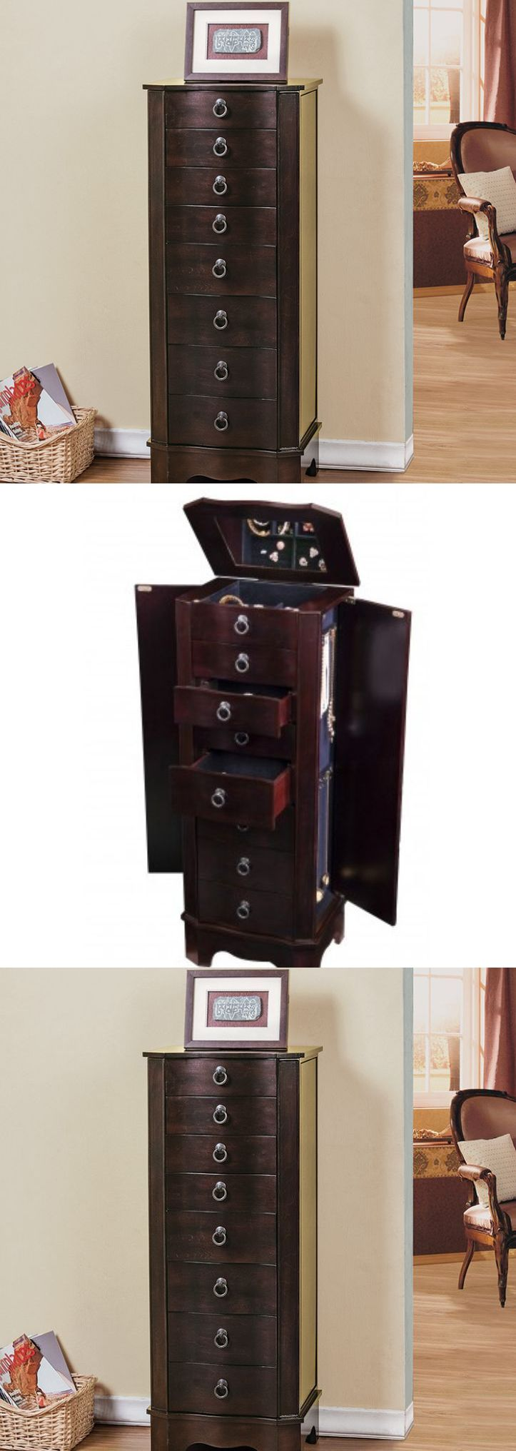 Jewelry Boxes 3820: Tall Jewelry Armoire And Mirror Chest Locking Box Brown  Wood Storage Cabinet