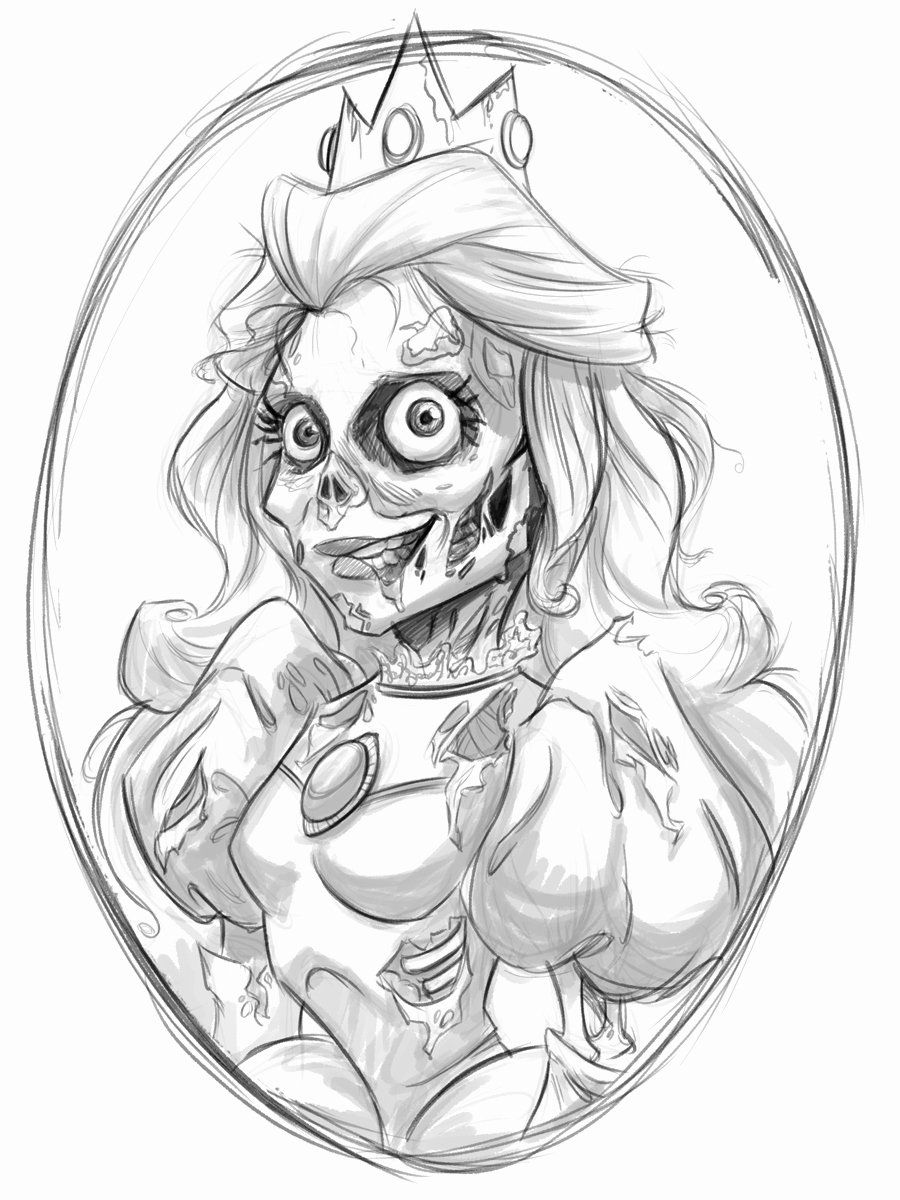Disney Zombie Coloring Pages New Peach Drawing At Getdrawings Zombie Disney Coloring Pages Drawings