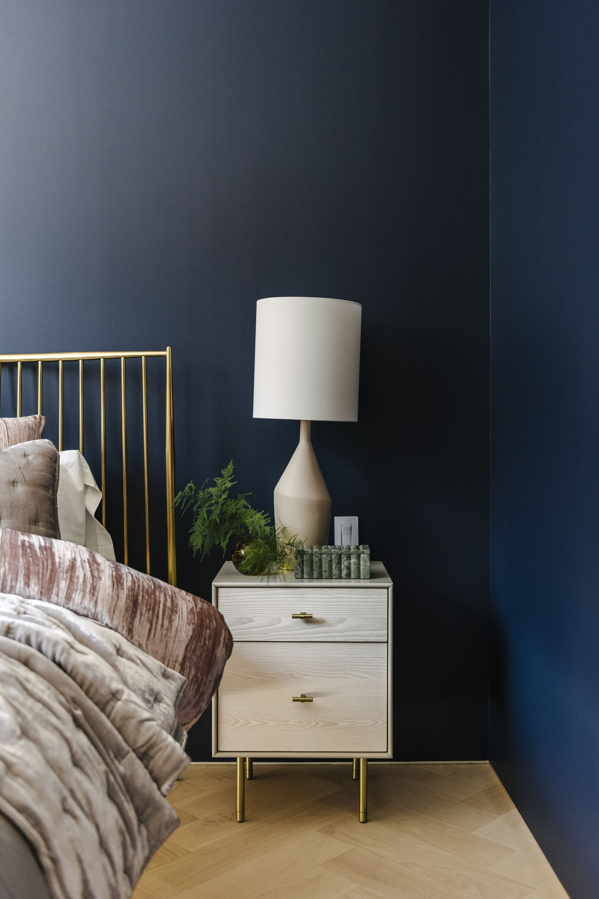 Glam Bedroom In Naval Sw 6244 2020 Color Of The Year Color Trends Home Decor Trends Decor