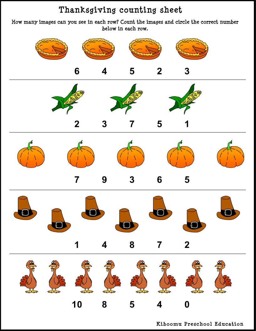 thanksgiving worksheets for preschoolers – Math Counting Worksheets Kindergarten