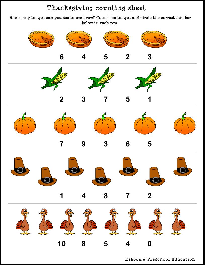 kindergarten thanksgiving worksheets | Preschool Math Counting ...