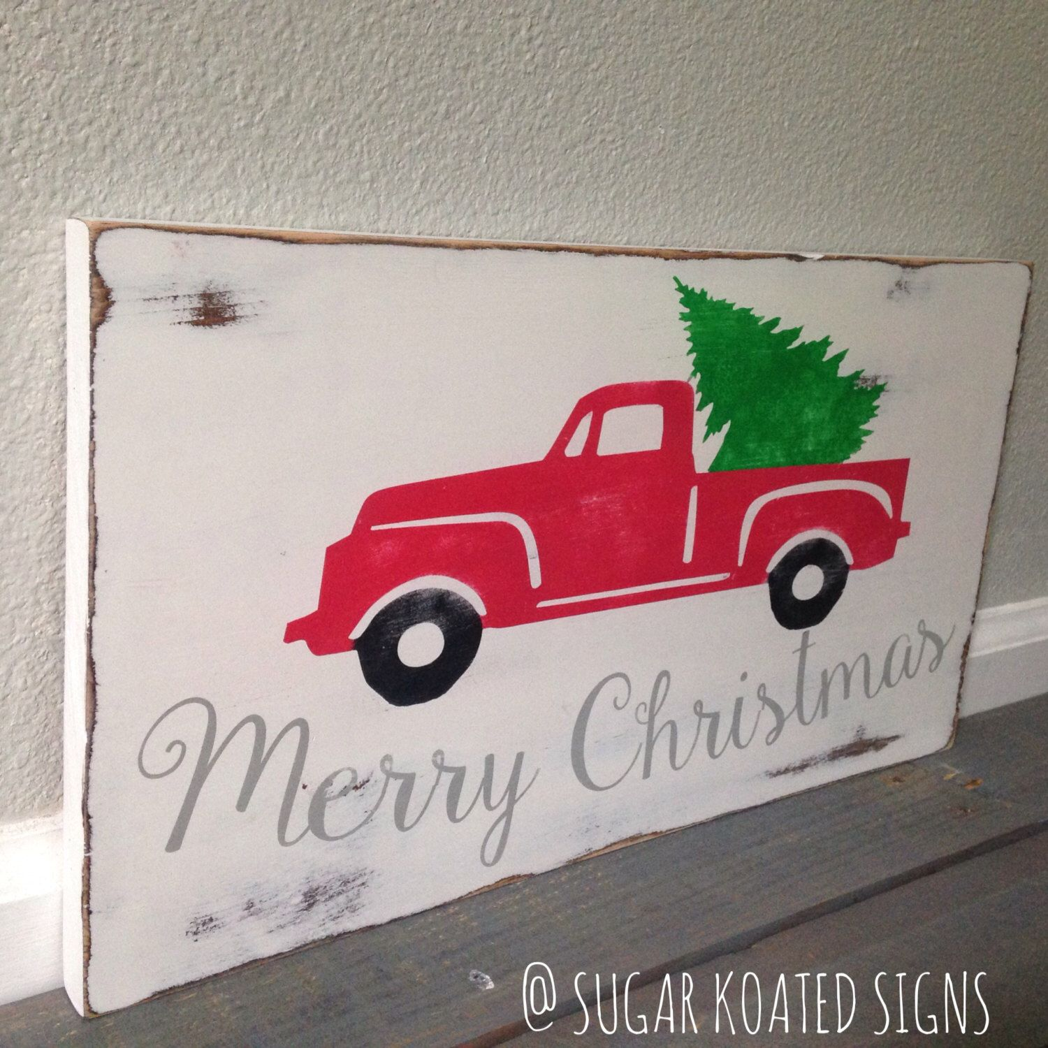 Christmas wooden christmas memories hanging sign sold out - Merry Christmas Vintage Christmas Tree Truck Hand Painted Wooden Pallet Sign By Sugarkoatedsigns On
