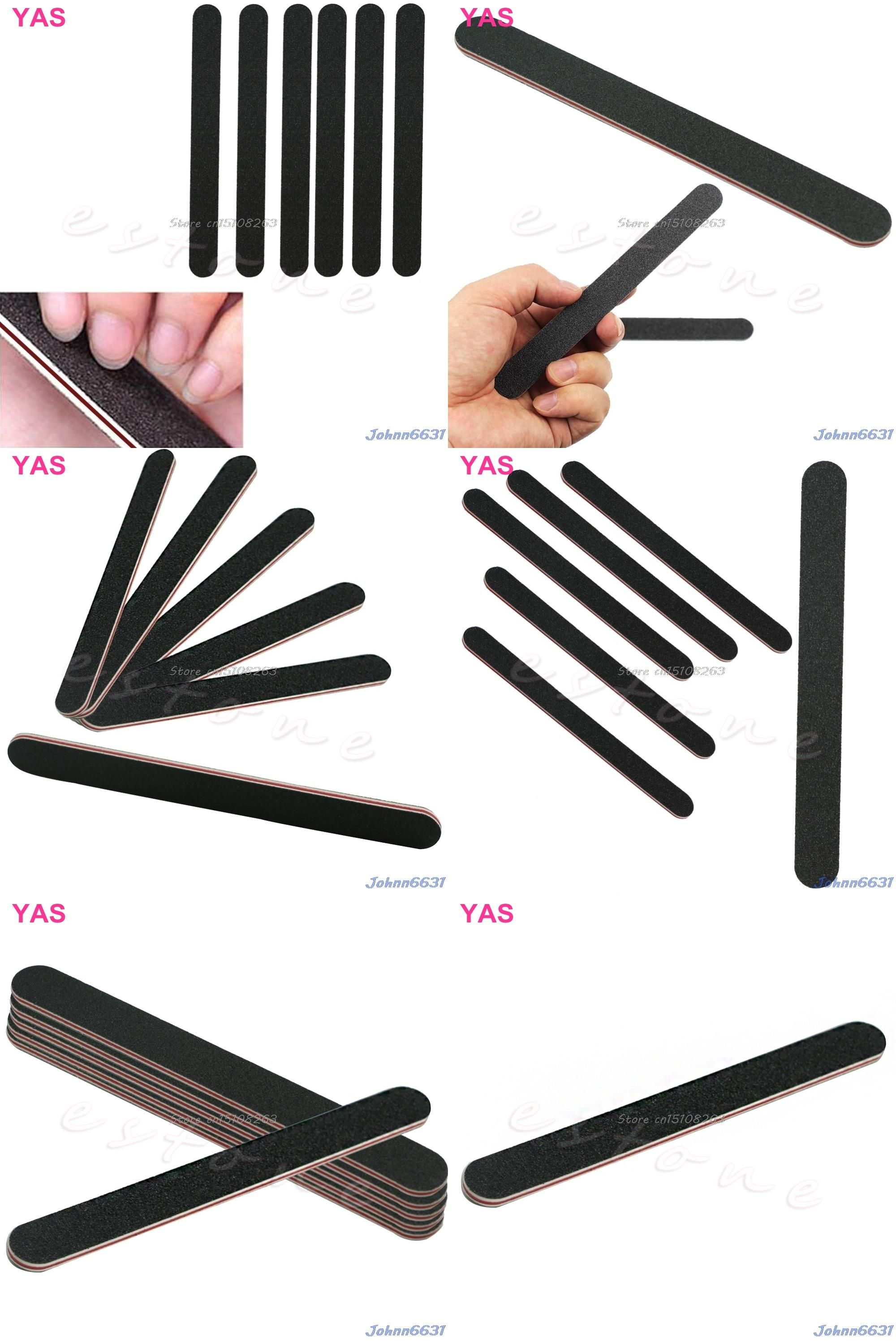Visit to Buy] 10Pcs Double Sided 180/100 Grit STRAIGHT Nail Files ...