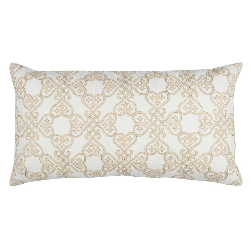 Rizzy Home Doh Floral Scroll I Oblong Throw Pillow Throw Pillows Stunning White Oblong Decorative Pillow