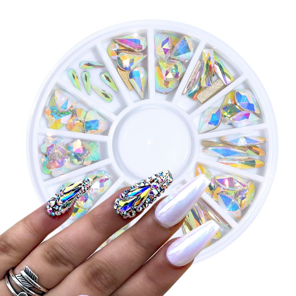 1 Wheel Crystal Ab Nail Gems Rhinestone For Nail Art Glass