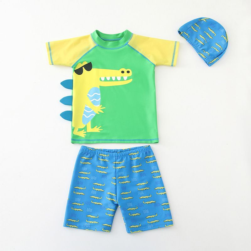 Kid Boys 3D Print Crocodile Short Top and Trunks Two Pieces With Swim Cap |  Boy swimsuits, Swimsuits outfits, Short tops