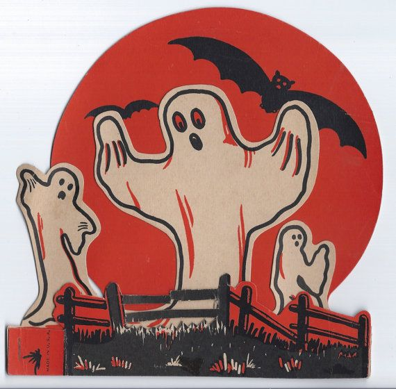 WOW Vintage Halloween 1950s Beistle 3 Ghosts Bats Full Moon Dimensional Stand Up Die Cut Decoration