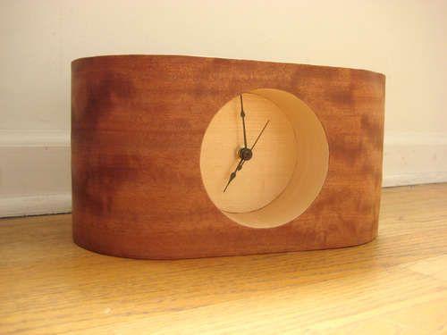 Retro Style Wood Veneered Table Clock Wood Clocks Clock Wooden