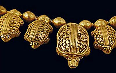 Necklace of turtles, gold with granulation detail.  5th-1st c BCE.  From Vani, Republic of Georgia, formerly known as Colchis, Land of the Golden Fleece.