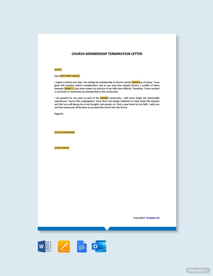 Church Membership Termination Letter Template Free Pdf Word Apple Pages Google Docs Letter Template Word Lettering Letter Templates Free
