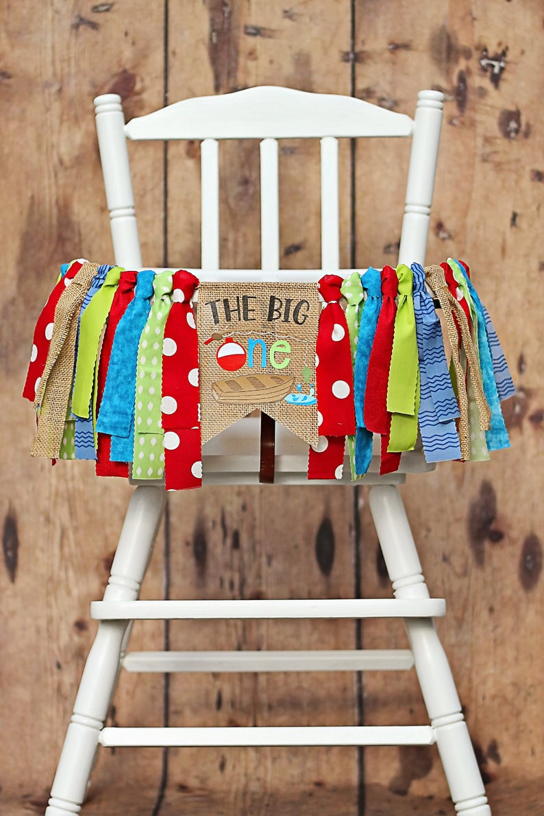 The Big One Fishing Boat High Chair Banner, 1st Birthday