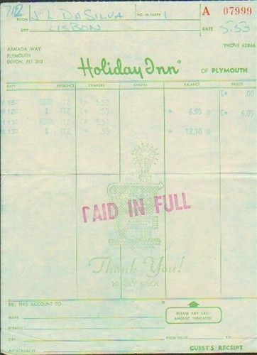 Old Original Hotel Invoice London Plymouth Holiday Inn 1970s 75332 ...