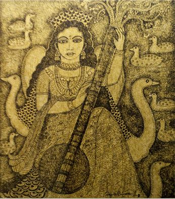 Mixed media painting of Goddess saraswathi by celebrated artist Jayashree Burman