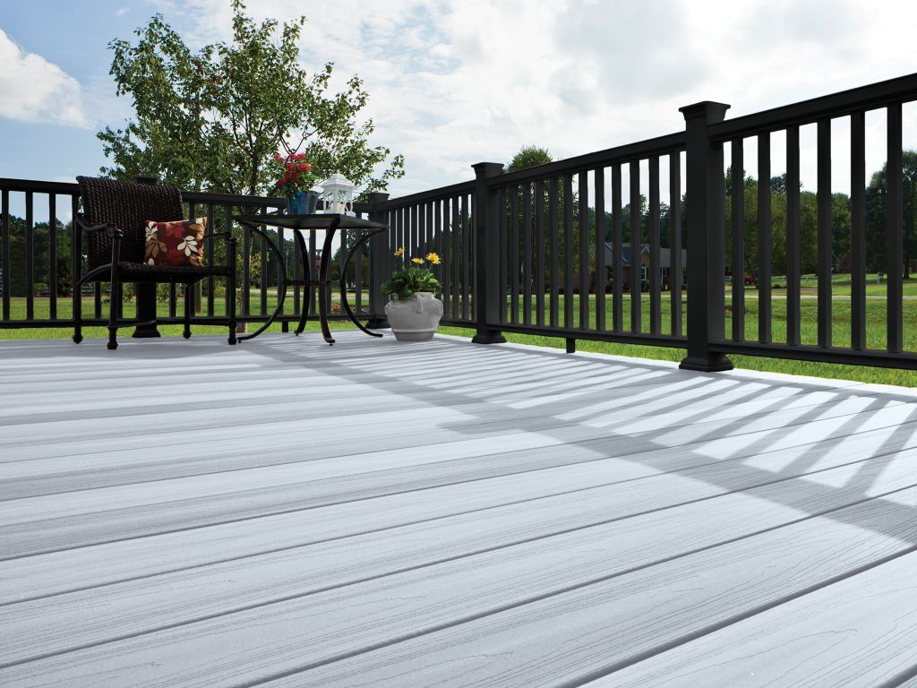 Best Horizon Decking In Castle Gray With Black Mission Railing 400 x 300