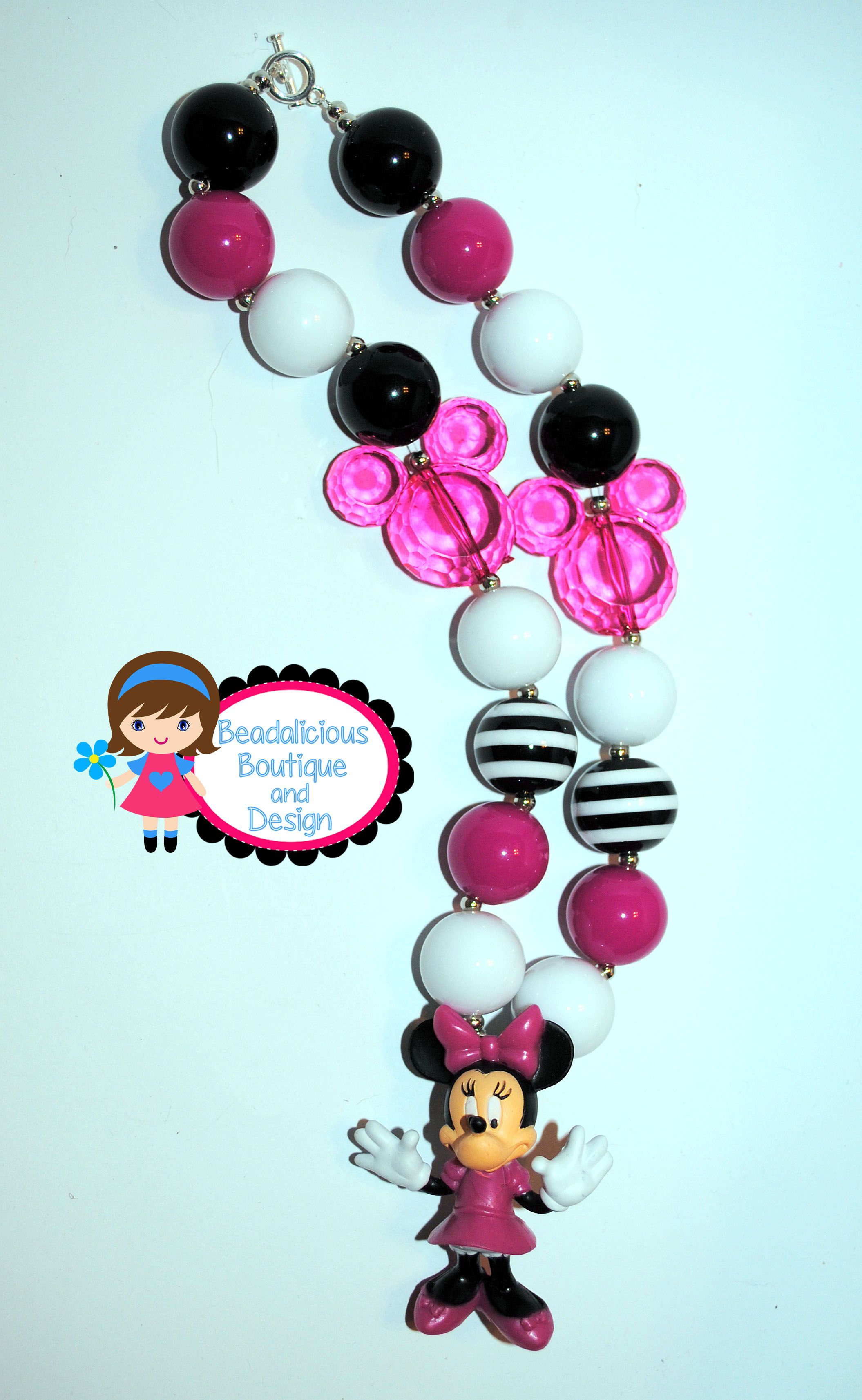 Minnie Mouse chunky beaded necklace