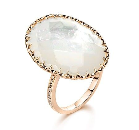 ivanka trump cocktail ring in 18k rose gold with mother of pearl u0026 diamonds