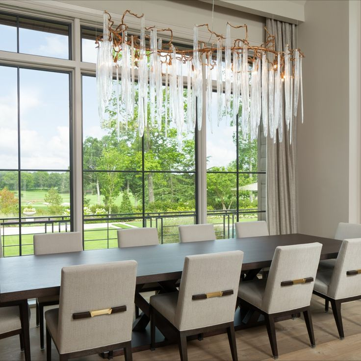 Dining Room Table with Contemporary Chandelier