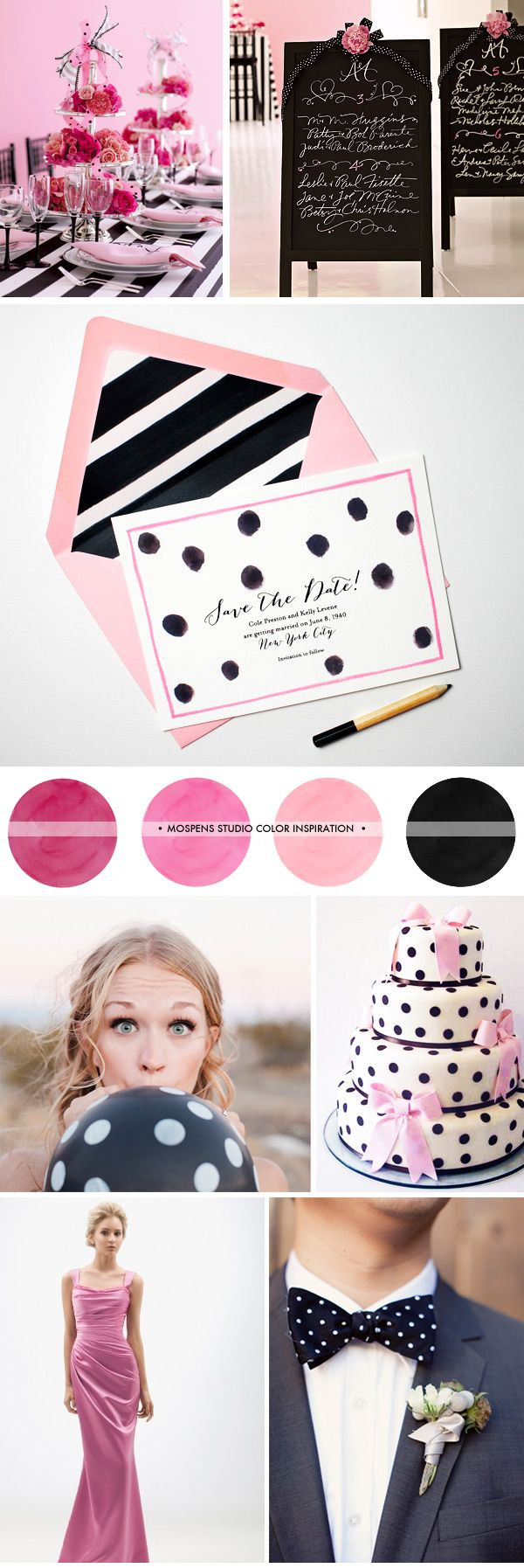 Pink, Black and White Wedding Ideas with Polka-Dots | Mospens Studio ...