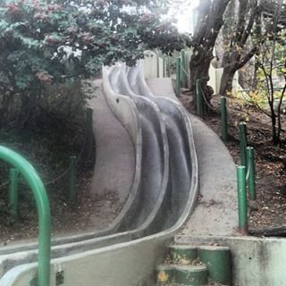 There's a concrete slide in the Castro.  Seward Mini Park at the corner of Seward Street and Acme Alley.