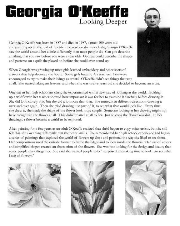 High School Lesson Plan Georgia O Keeffe Watercolor Art History Lessons Art Worksheets Art Handouts