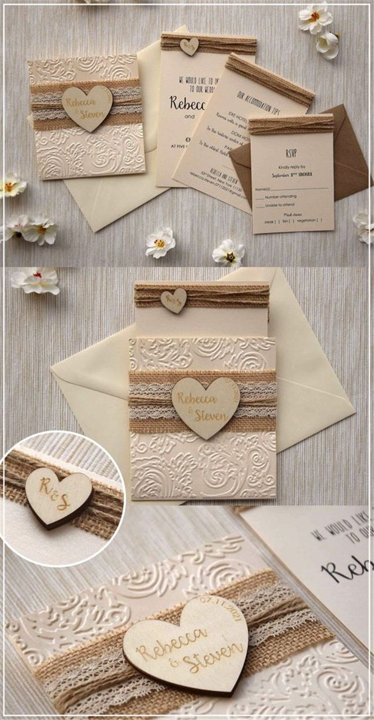 Creative And Gorgeous Wedding Invitation Ideas For Your Perfect Wed In 2020 Cheap Wedding Invitations Diy Rustic Wedding Invitations Burlap Country Wedding Invitations