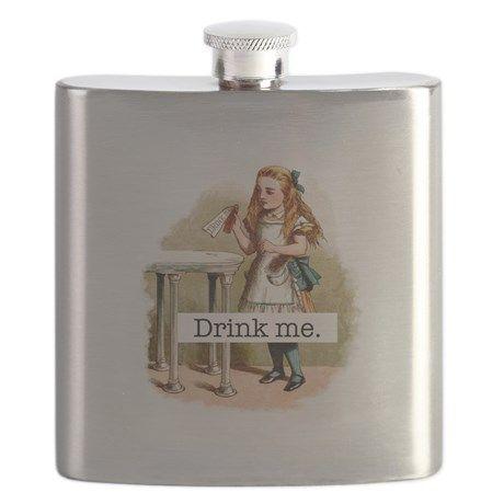 Drink Me Alice in Wonderland Flask on CafePress.com