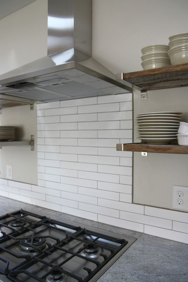 2x12 White Subway Tile And A Contrasting Warm Gray Grout From The