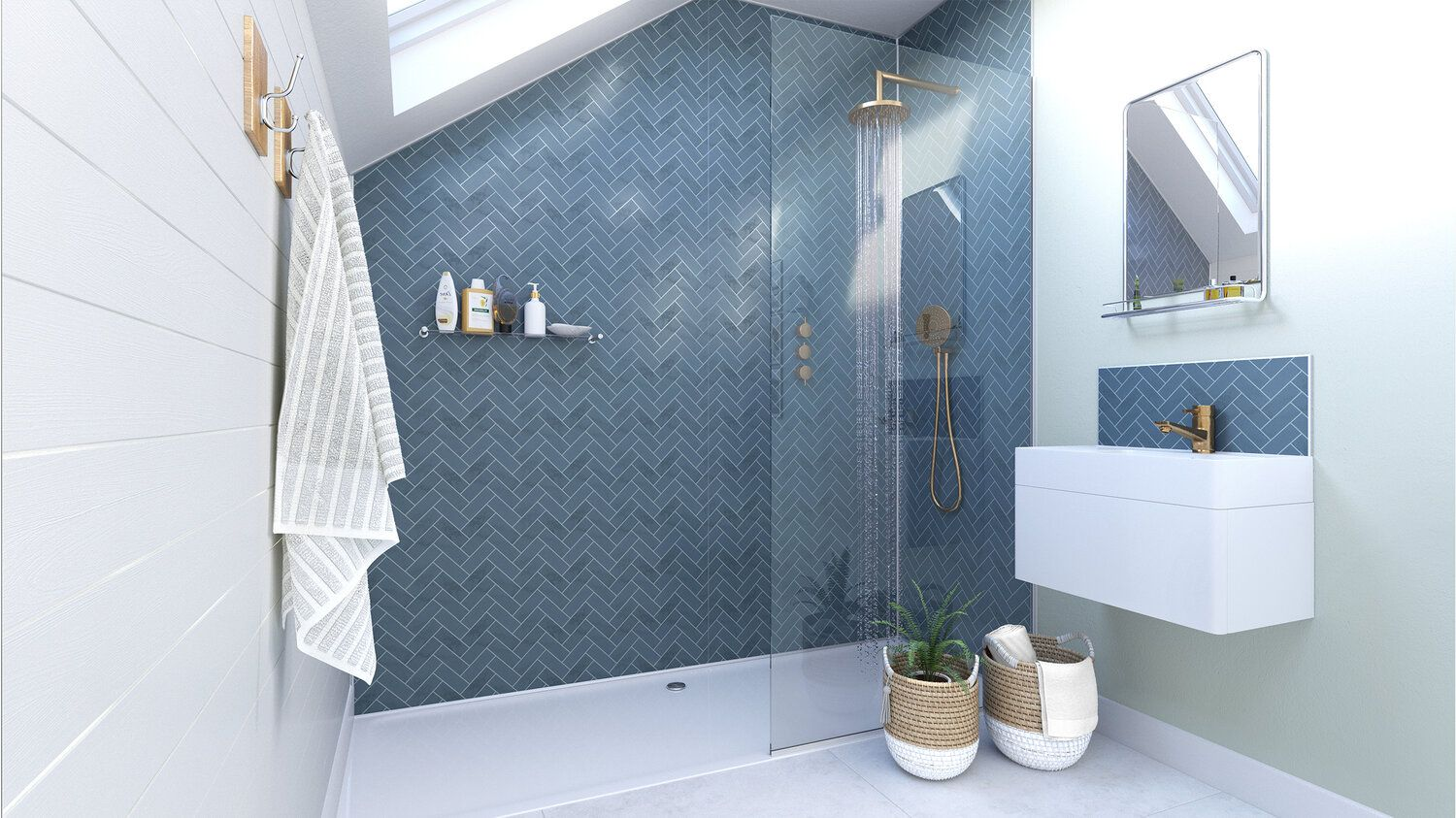 Nicola Broughton The Girl With The Green Sofa Blog Homeshowerwall The Alternative To Tiles Bathroom Wall Panels Bathroom Trends Herringbone Tile Bathroom