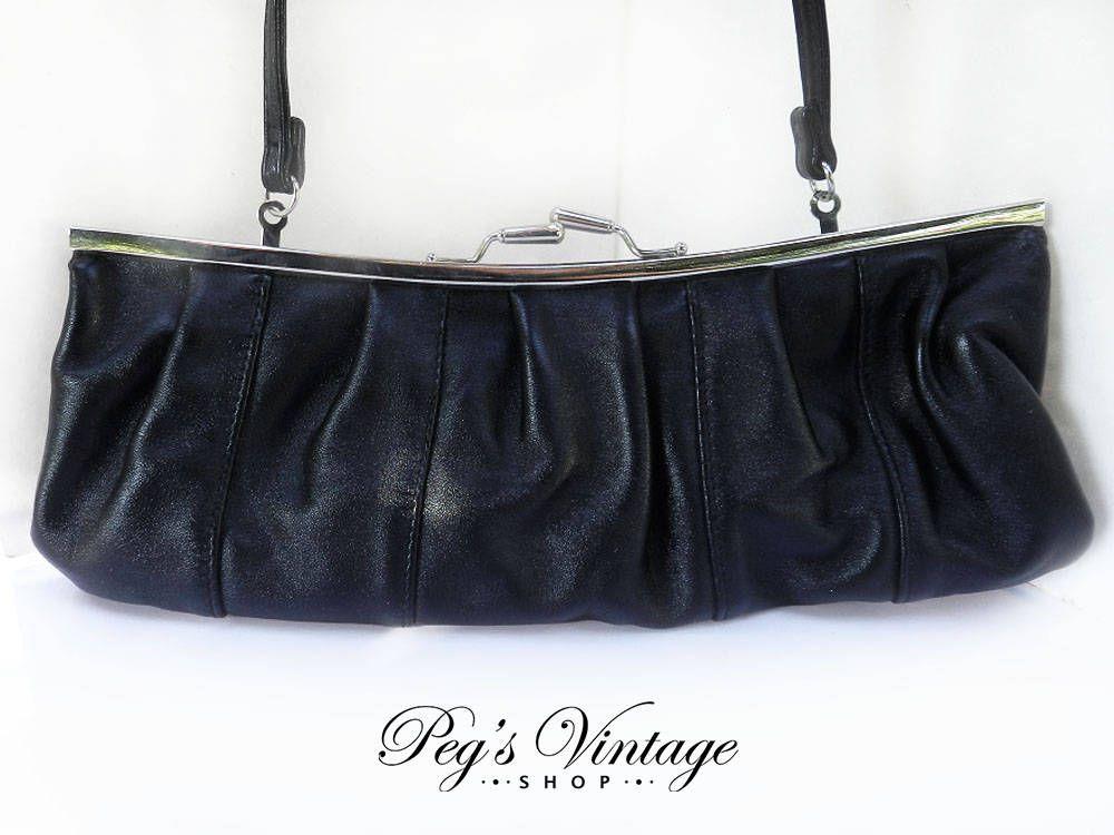 Vintage Giannini Black Leather Handbag Purse, Women s Fashion Clutch Bag by  PegsVintageShop on Etsy e64b556ee4