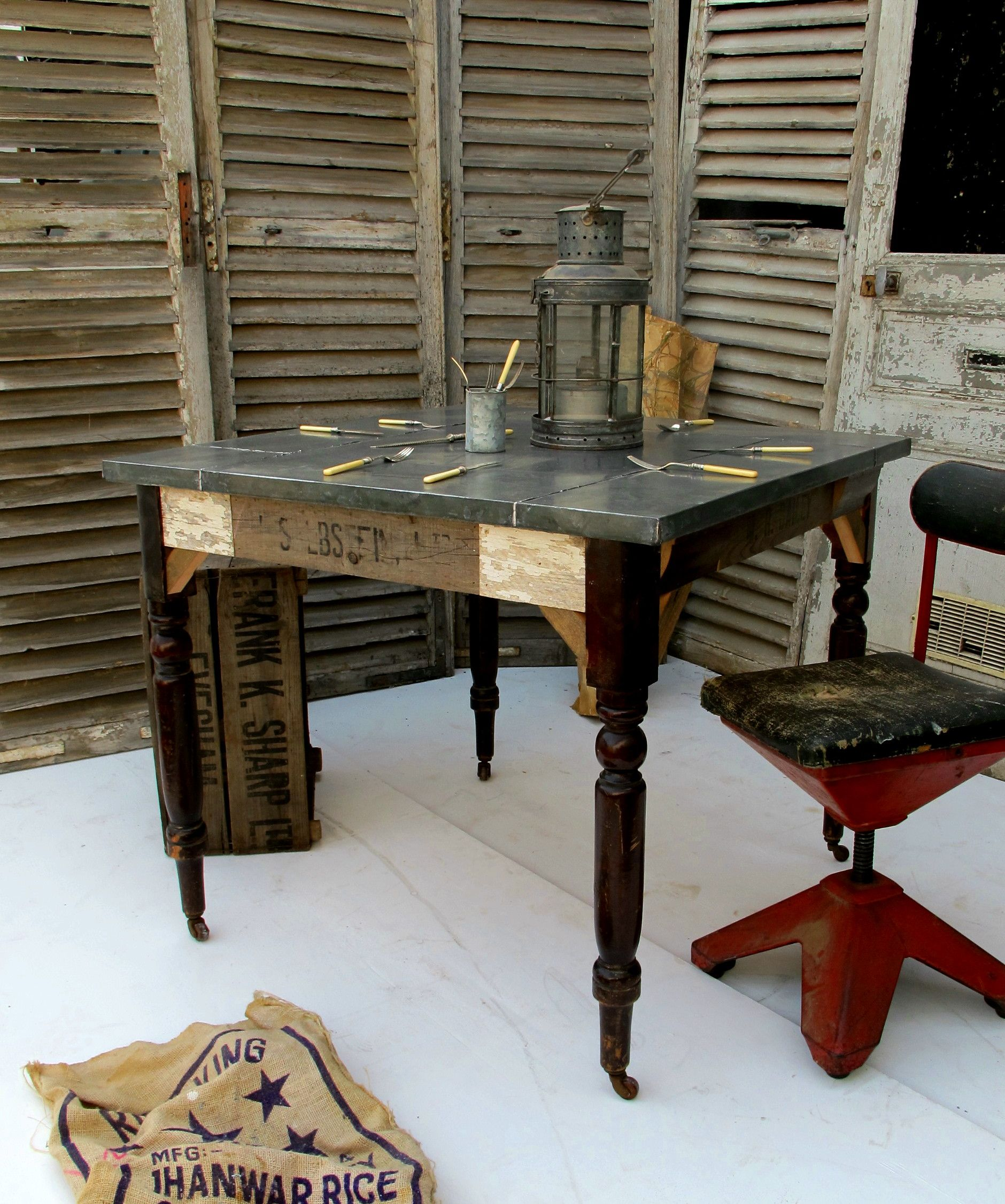 Odds And Sods Small Zinc Top Dining Table