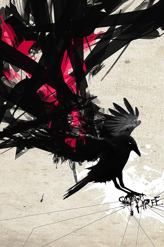 Grunge Crow Iphone Wallpaper Black Bird Bird Art Abstract Wallpaper