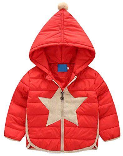 28a3deed640a MAXIMGR Little Girls Star Pattern Hoodie Jacket Lightweight Winter ...